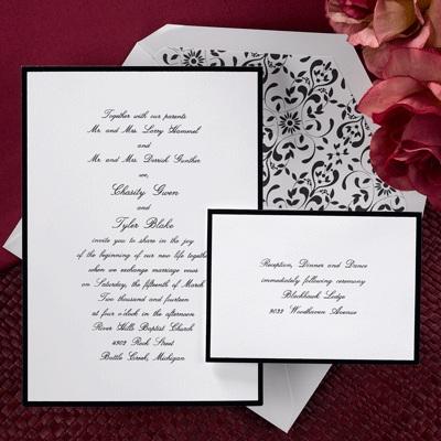 Elegant Wedding Favors on Wedding Invitations  Elegant Wedding Invitations  Discount  Black