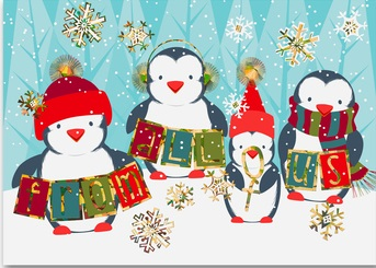 Penguin team holiday cards humorous business christmas cards for