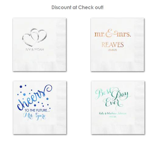 White Wedding Napkins Personalized Custom White Napkins